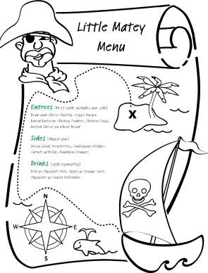Pirate Children's Menu | Kids' Menus