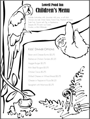 Customize Rain Forest Childrens Menu