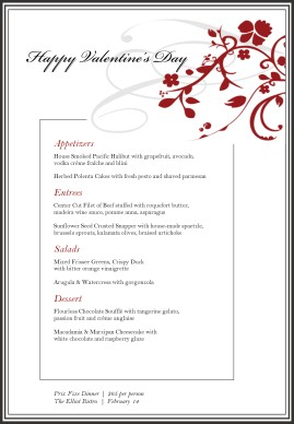 Valentines Day Menu Template V2 Special Valentine Menu Template