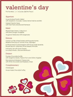 Wild Hearts Prix Fixe Menu Valentine S Day Menus