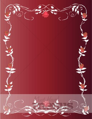 Roses and Vines Red Menu Background | Holiday Menu Backgrounds