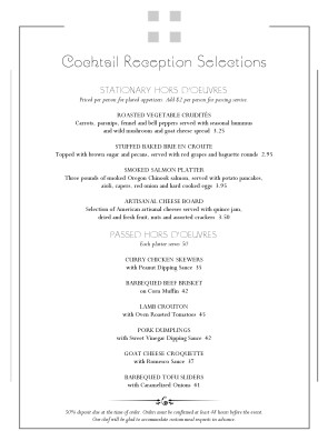 Customize Catered Reception Menu