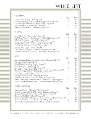 Restaurant wine list template wine list for Wine dinner menu template