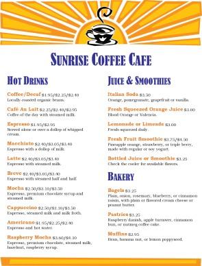 Sunrise Coffee House Menu Coffee House Menus