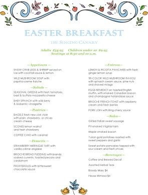 pastel easter brunch menu easter menus
