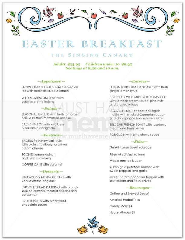 Easter brunch buffet menu ideas quotes for Easy easter lunch menu
