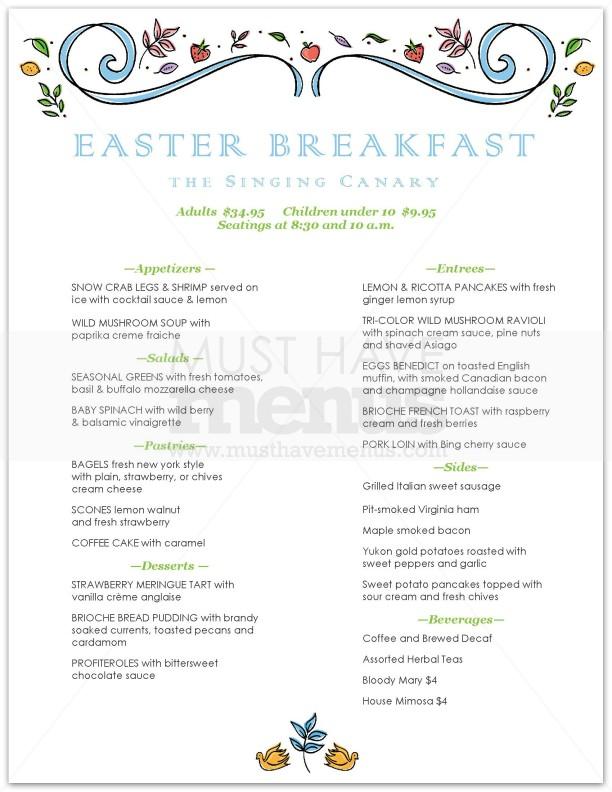 Pastel easter brunch menu page 1 for Easter brunch restaurant menus