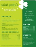 Four Leaf St. Patrick's Day Menu