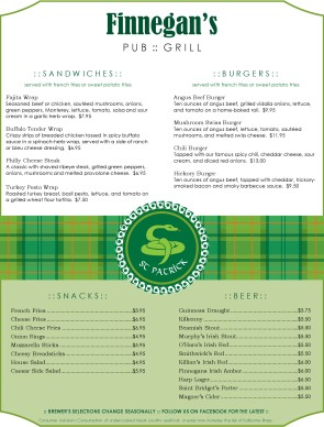 Irish bar menu irish menus for Irish menu templates