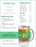 St. Patty's Menu