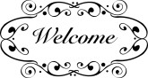 Black Scroll Welcome Sign