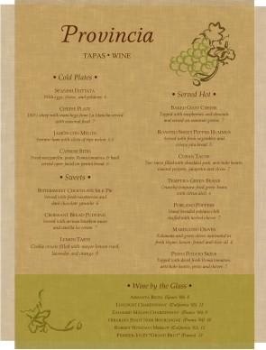 Parchment tapas menu bar menus for Tapas menu template