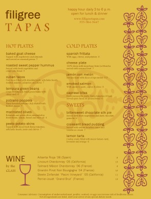 Tapas Food Menu Menus
