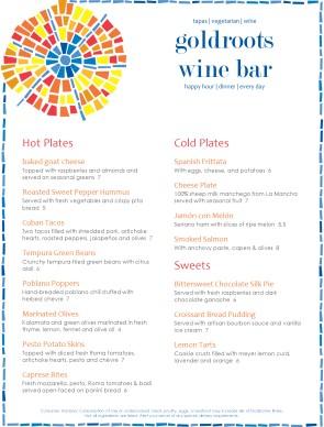 spanish restaurant menu example
