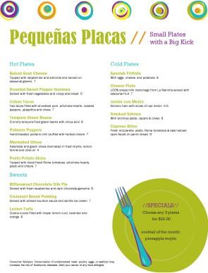 Small plates tapas menus tapas menus for Tapas menu template