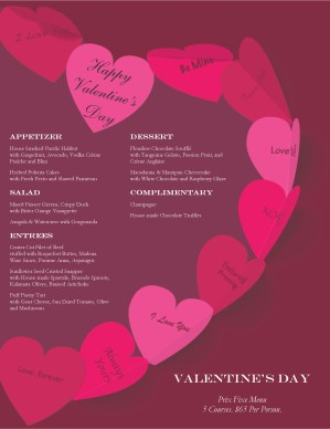 Paper Hearts Valentines Day Menu Template Archive