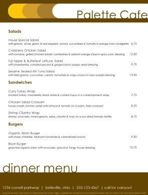 Customize Modern Russet Cafe Menu