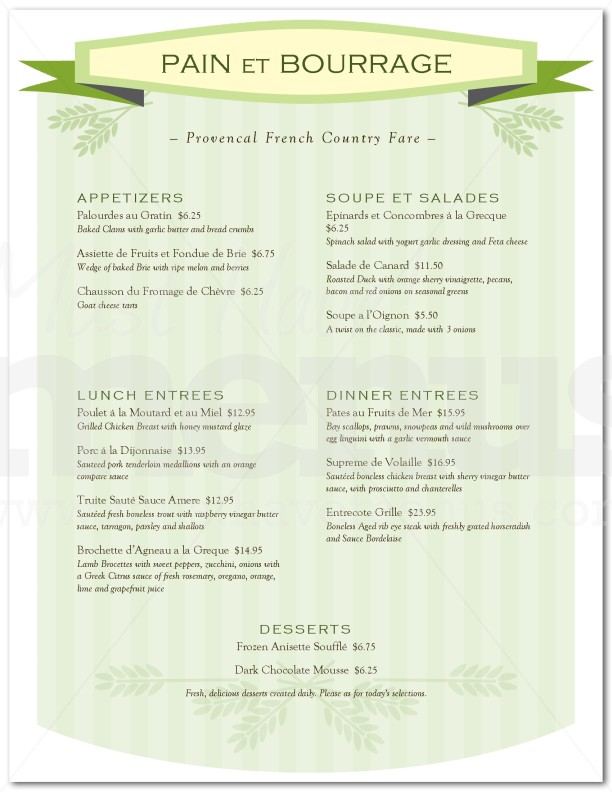 Boulangerie French Menu  Page