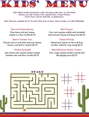 Serenade Kids Mexican Menu Kids Menus