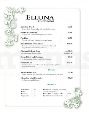 Eirinn irish menu template template archive for Irish menu templates