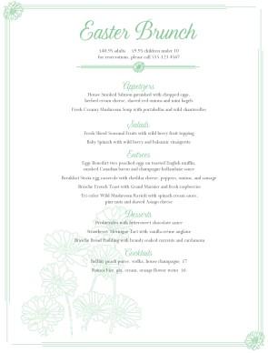 cottage flowers easter menu easter menus