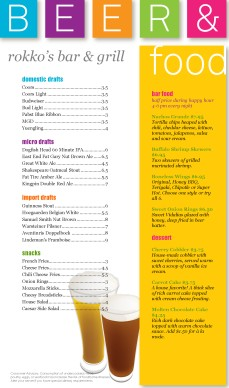 Customize Color Blocks Pub Food Menu Long