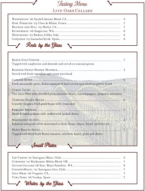 Customize Vineyard Wine Bar Menu