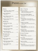 Sheer Taupe Wine Bar Menu