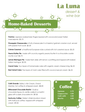 Customize Green Casual Dessert Menu