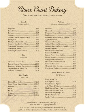 Sweet Cake Bake Shop Menu
