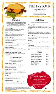 Burger Restaurant Menu Long Burger Menus