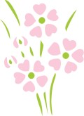 Stenciled Pink Heart Flowers