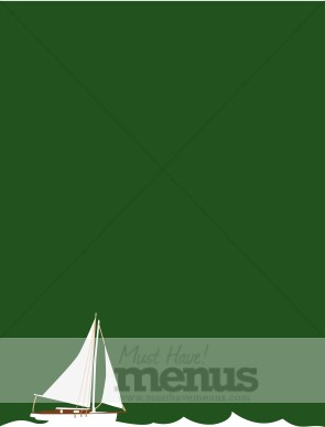 White Sailboat on Sea Green