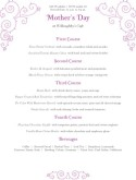 Mothers Day Family Menu