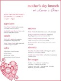 Mothers Day Heart Menu