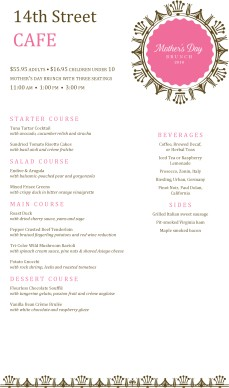 Customize Bistro Mother's Day Menu Long