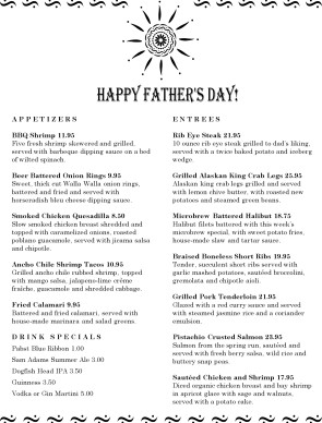 Customize Menu for Fathers Day