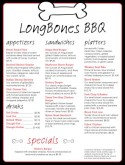 Bones Barbeque Menu
