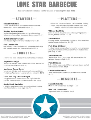 Customize Western Barbeque Menu