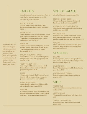 Simple Fine Dining Menu Fine Dining Menus