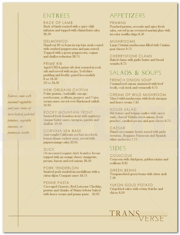 Simple Fine Dining Menu Page 1