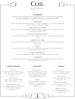 Customize Fine Dining Food Menu