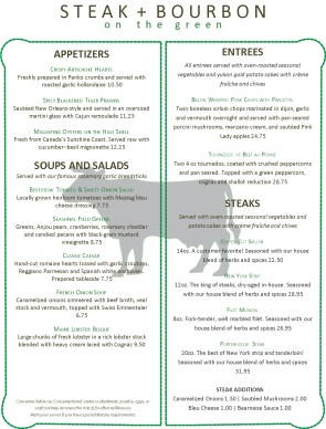 Customize Steer Steakhouse Menu