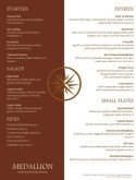 Medallion Fine Dining Menu