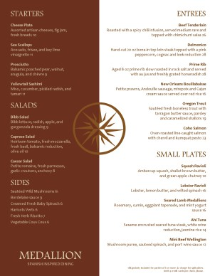 Medallion fine dining menu steakhouse menus for Fine dining menu template free