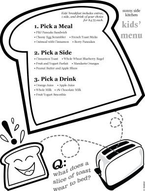 Happy Toast Kids Menu | Kids' Menus