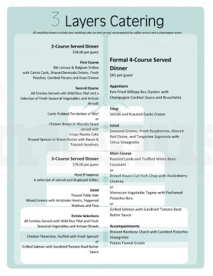 Cake wedding catering menu template template archive for Catering menus templates