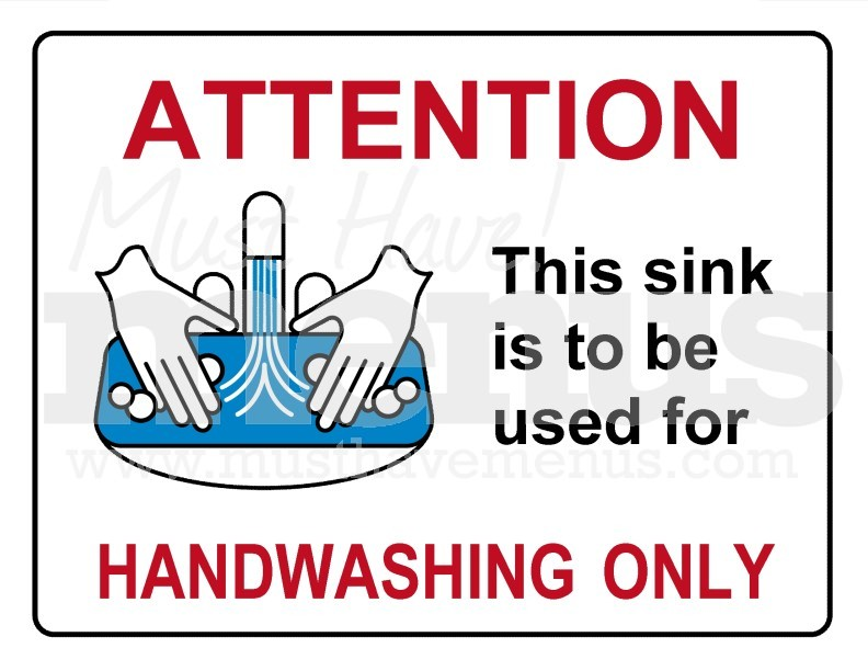 Hand Washing Sink Only Kitchen Sign Page 1