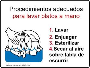 Manual Dishwashing Kitchen Safety Signs In Spanish