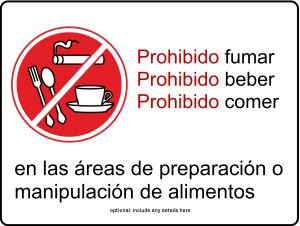 Food Preparation Kitchen Sign In Spanish Template Archive